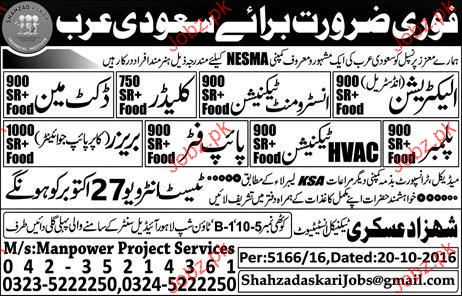 Electricians, Instrument Technicians, Plumbers Wanted