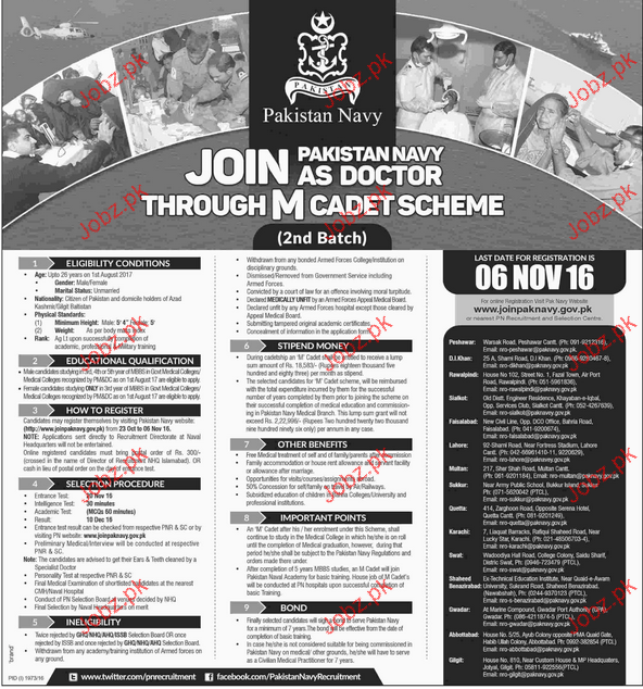 Join Pakistan Navy As Doctors Through Cadet Scheme
