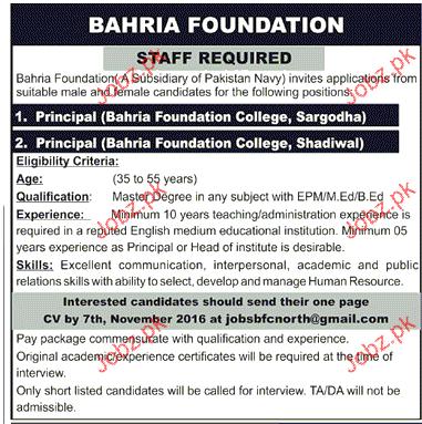 Principals Job in Bahria Foundation