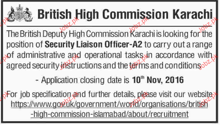 Security Liaison Officers Job in British High Commission