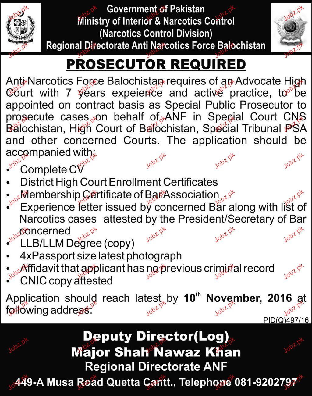 Prosecutors Job in Ministry of Interior & Norcotics