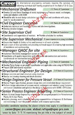 Mechanical Draftsman, Site Supervisors Job Opportunity