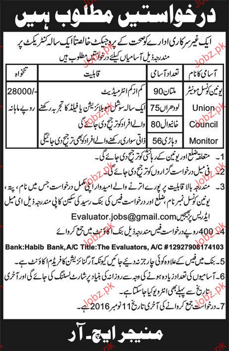 Union Council Monitors Job Opportunity 2019 Job Advertisement Pakistan