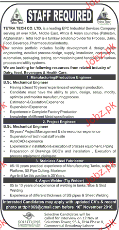 production engineers project engineers job opportunity