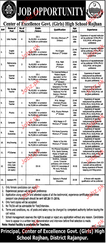 Teachers, PTs and Assistant PTI Job Opportunity