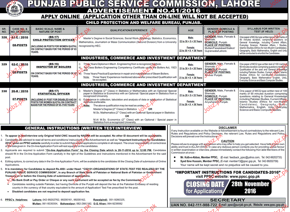 Child Protection Officers, Inspector of Boiler Job in PPSC