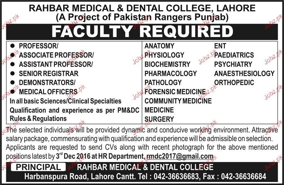 Professors, Associate Professors, Senior Registrar Wanted