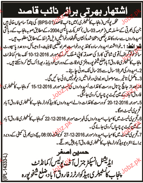 Naib Qasid Job in Punjab Constabulary