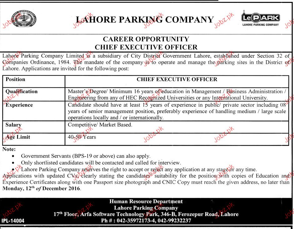 Chief Executive Officers Job in Lahore Parking Company