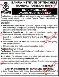 Deputy Director Job in  Bahria Institute of Teachers