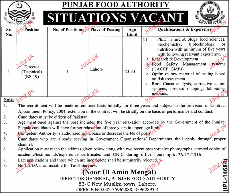 Director Technical Job in Punjab Food Authority