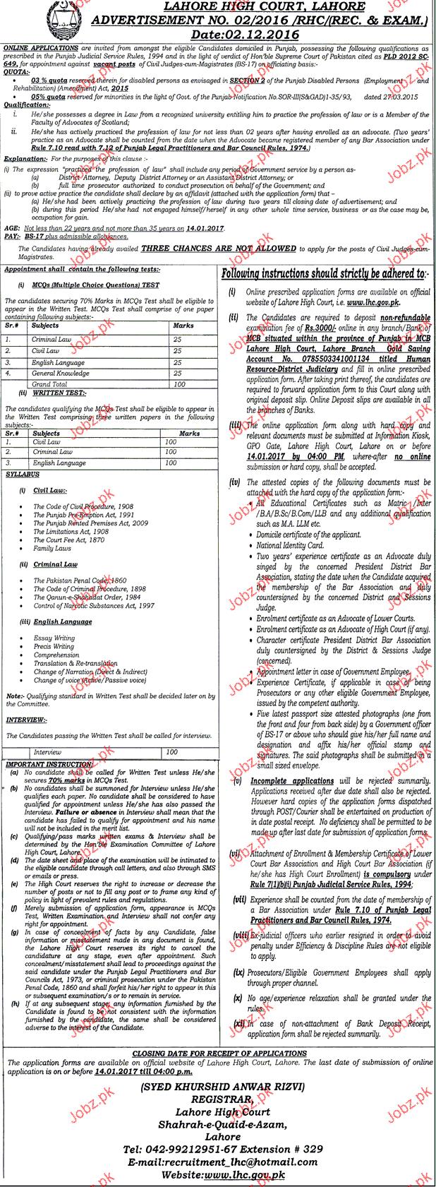 Recruitment of Civil Judges in Lahore High Court