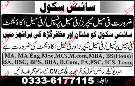Principal, Accountant and Teachers Job Opportunity