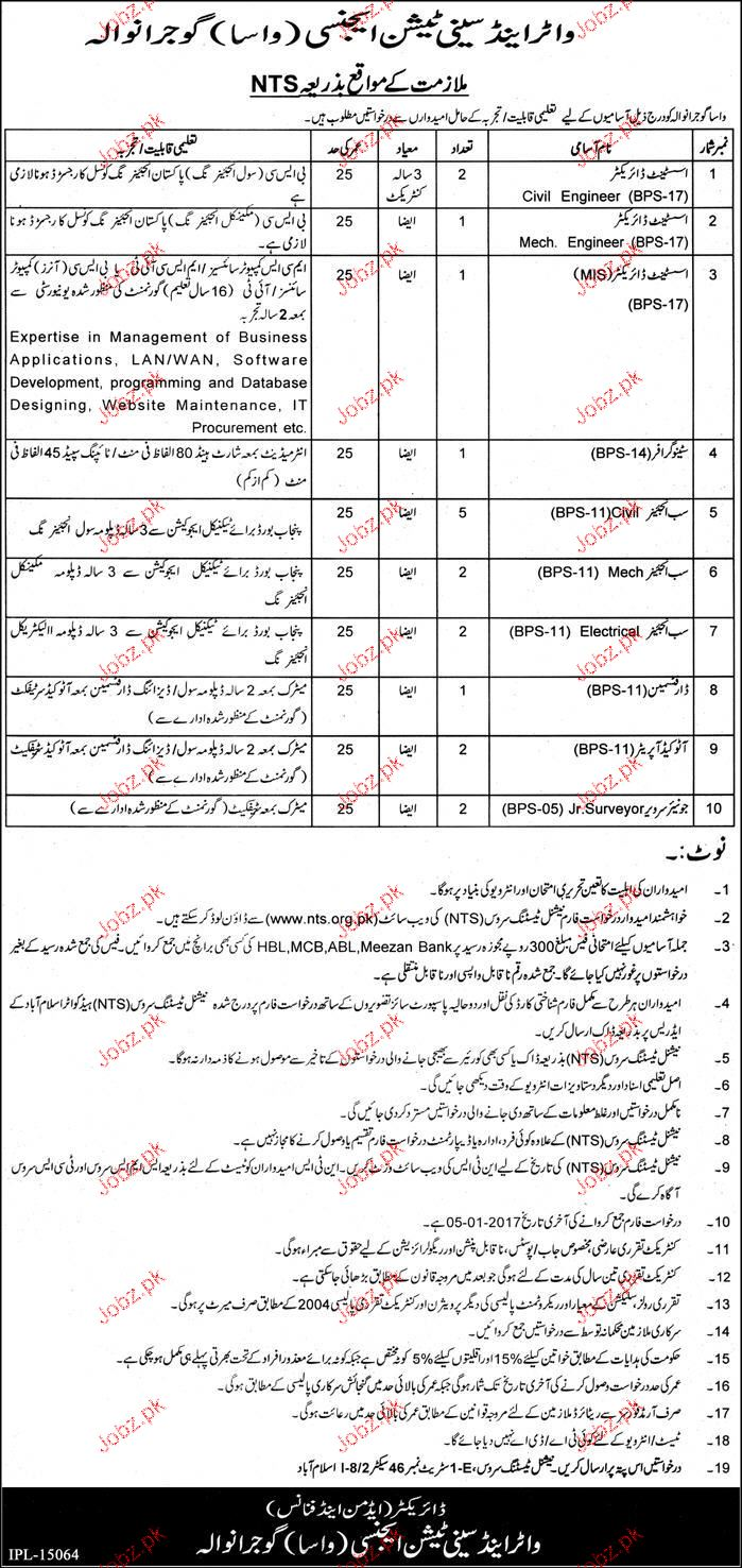 Assistant Director, Stenographers, Sub Engineers Job in WASA