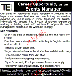 Events Manager Job Opportunity