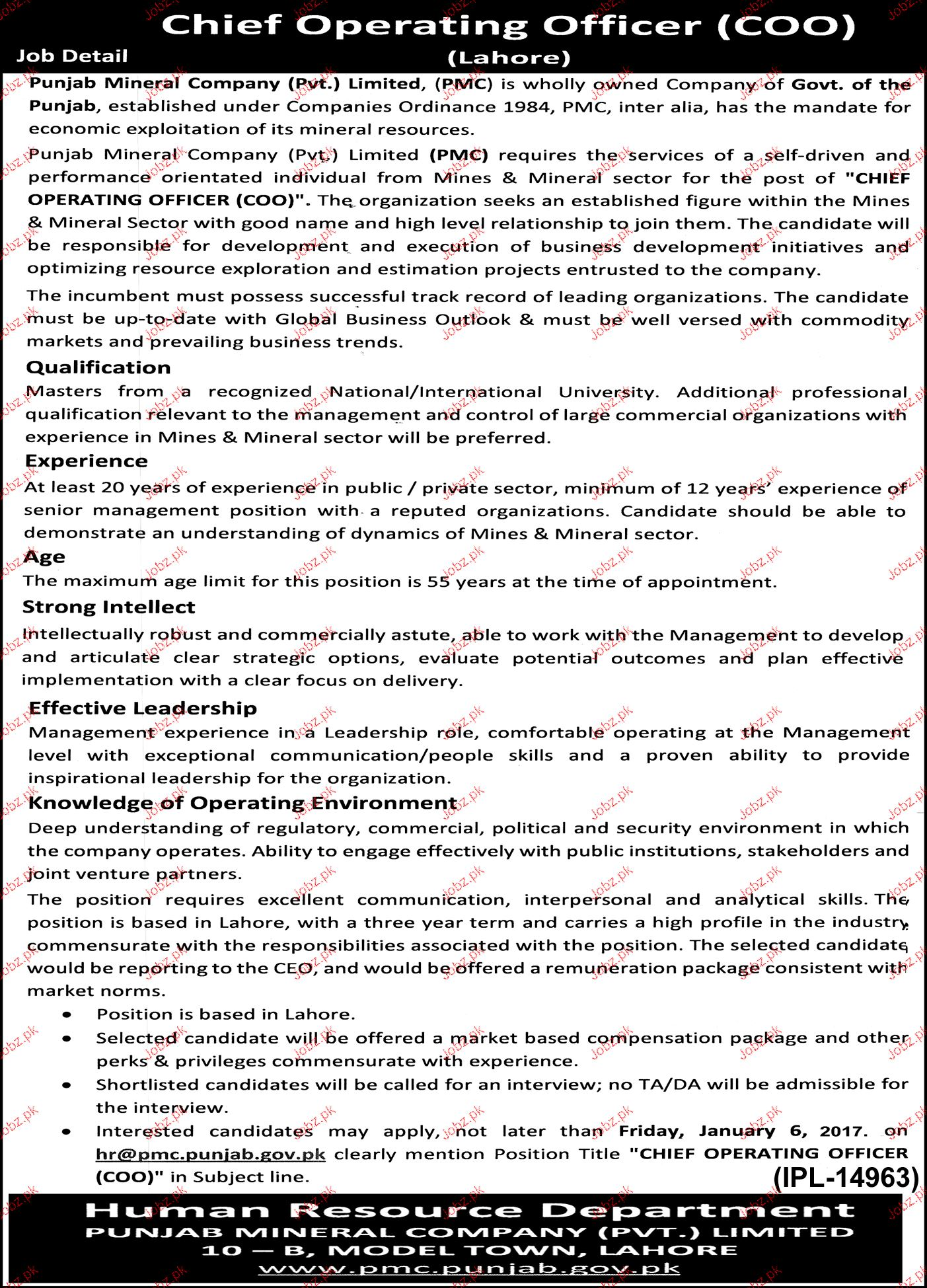 Chief operating officers job opportunity 2019 job advertisement pakistan - Chief operating officer jobs ...