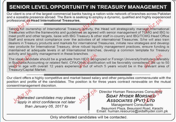 Head International Treasuries Job Opportunity