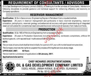 Consultants / Advisors Job in OGDCL