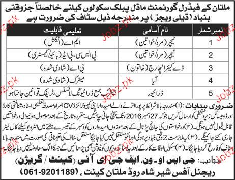 Teachers Job in Federal Government Public School