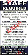 Resident MEP Engineers and Site Inspectors Job Opportunity