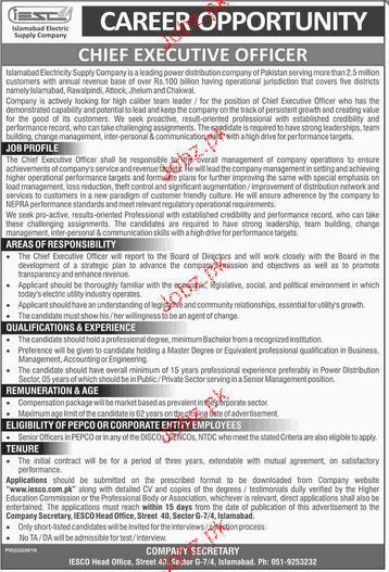 Chief Executives Officers Job Opportunity