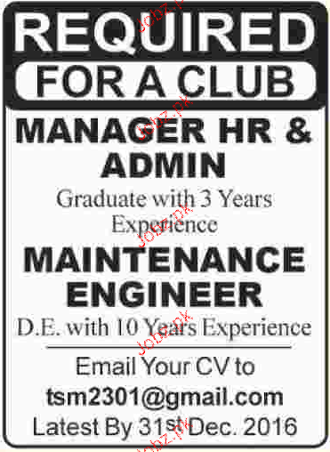 Manager HR and Maintenance Engineers Job Opportunity