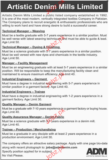 Technical Manager, Manager and Industrial Engineers Wanted