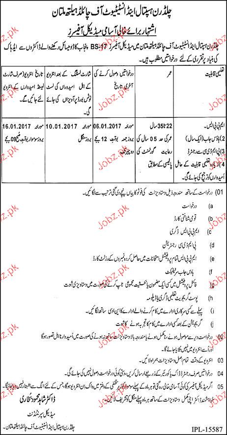 Medical Officers Job in Children Hospital and Institute
