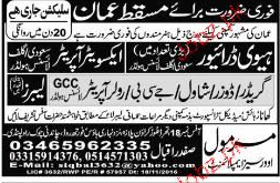 Heavy Drivers and Exvitor Operators Job Opportunity
