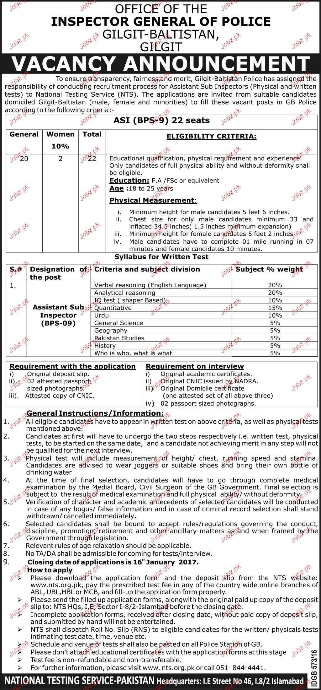 Assistant Sub Inspectors Jjob in Gilgit Police