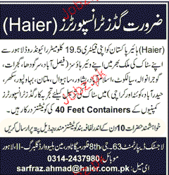 Goods Transporters Job Opportunity