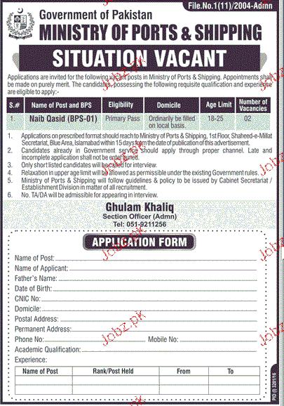 Naib Qasid Job in Ministry of Ports & Shipping