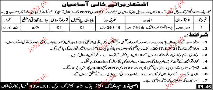 Naib Qasid Job in Public Health Engineering Department