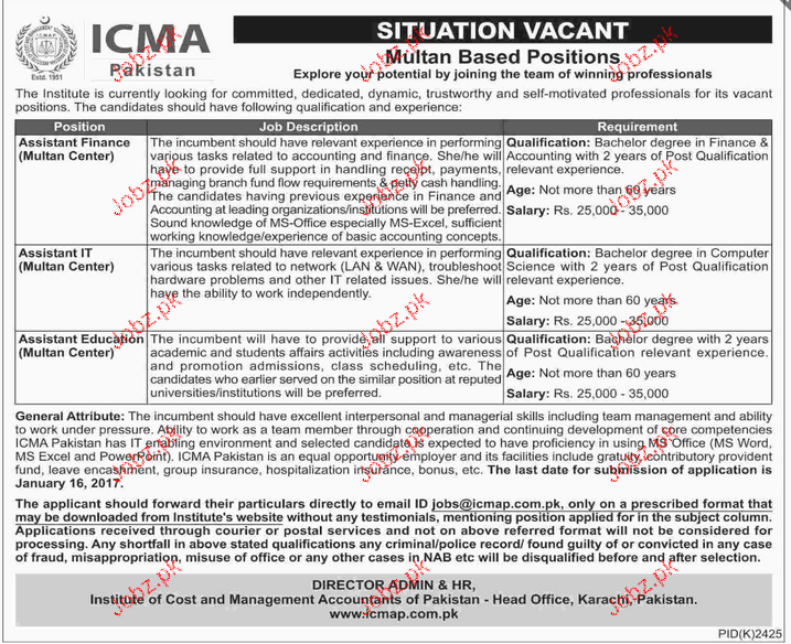 Assistant Finance, Assistant IT Job in ICMA