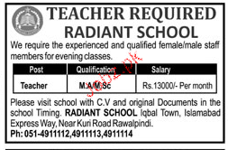 Teachers Job in Radiant School