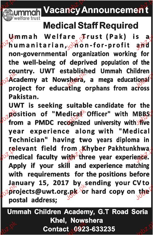 Medical Staff Job in Ummah welfare Trust