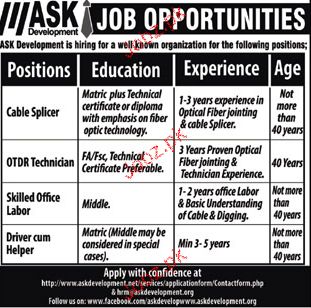 Cable Splicers, OTDR Technicians Job Opportunity