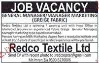 General Manager and Manager Marketing Job Opportunity
