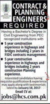 Contract and Planning Engineers Job Opportunity