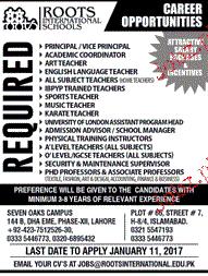 Principal, Teachers and Professors Job Opportunity