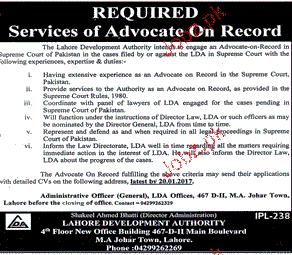 Advocates Job in Lahore Development Authority