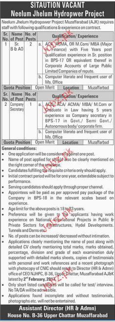 Sr B & AD and Company Secretary Job in Neelum Jhelum