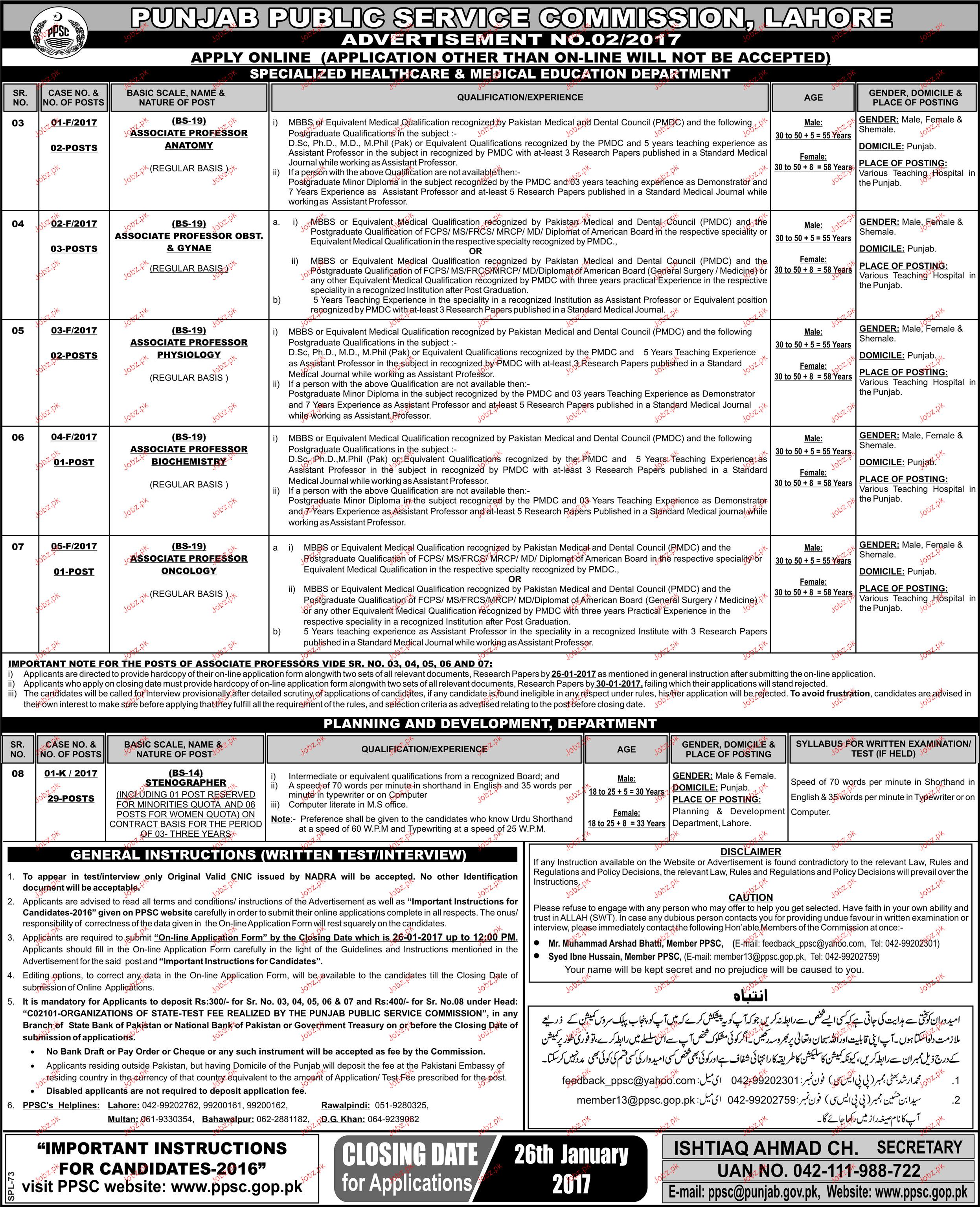 Associate Professors Job in Punjab Public Service Commission