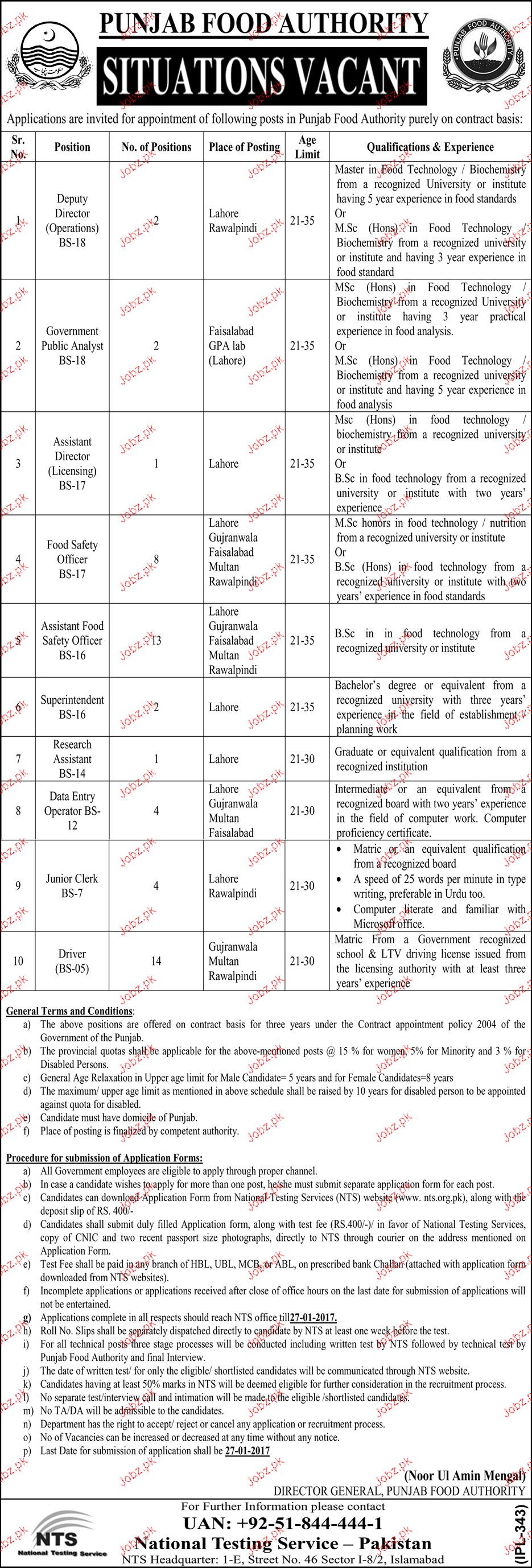 Deputy Directors, Assistant Director Job in Food Dept