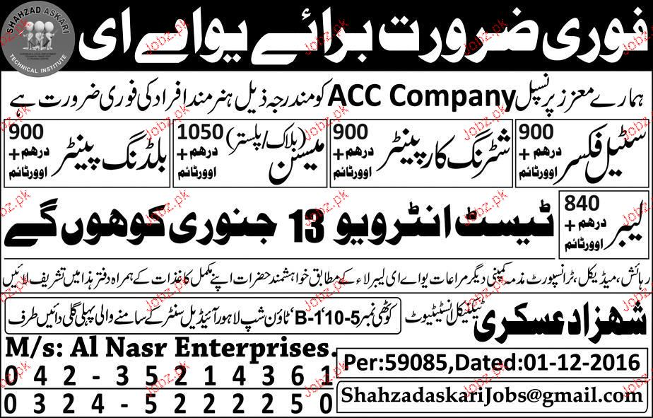Steel Fixers, Shuttering Carpenters Job Opportunity
