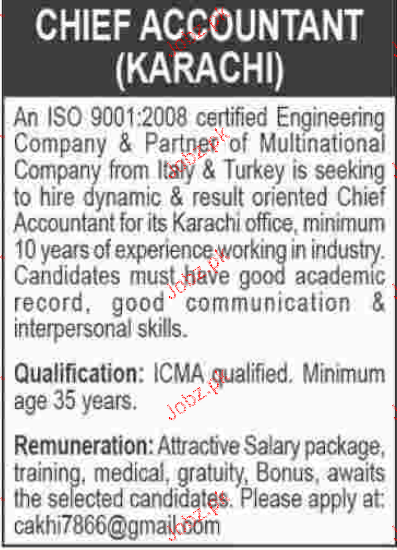 Chief Accountant Job Opportunity