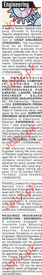 Chief Engineers, Civil Engineers and Supervisor Wanted