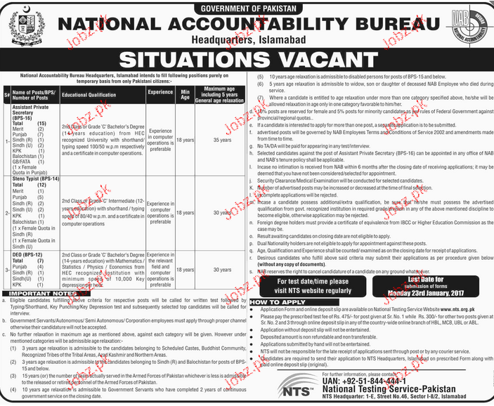Stenotypists, Assistant Private Secretary Job Opportunity