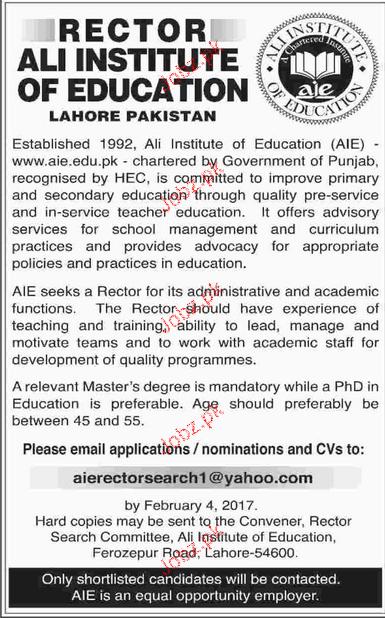 Rector Job in Ali Institute of Education