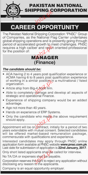Manager Finance Job in Pakistan National Shipping